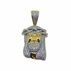 Small Gold Jesus Piece Pendant CZ Prong Set .925 Silver