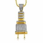 Small Gold Plug CZ Hip Hop Bling Bling Pendant