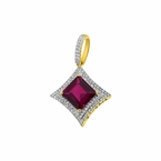 Small Kite 10K Gold .33cttw Diamond Red Gem Pendant
