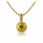 Smaller Canary Round Cut Gold Bling Pendant