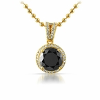 Smaller Round Cut Lab Black Diamond Bling Pendant