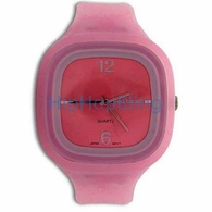 Square Face Pink Jelly Band Watch
