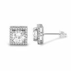 Square Halo Iced Out CZ Rhodium Earrings