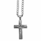 Stainless Steel Block Crucifix Chain Set