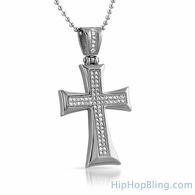 Stainless Steel Kite Cross Micro Pave CZ Pendant