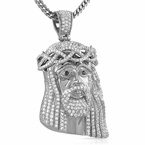 Steel CZ Large Jesus Piece Iced Out