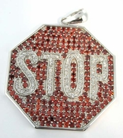 Stop Sign CZ Micro Pave .925 Sterling Silver Pendant Custom Made