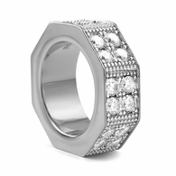 Thick Double Bling Octagon Ring Rhodium