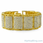 Thick Ice Log Gold Bling Bling Bracelet