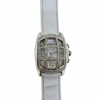 Tic Tac Toe Bling Bling Watch White Leather Band