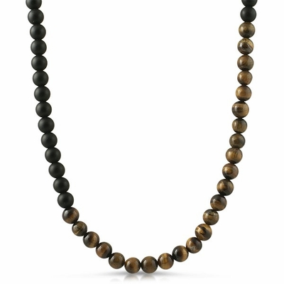 Tiger Eye and Black Beads Necklace