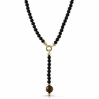 Tiger Eye Pendant Beads Black Rosary Necklace