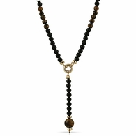 Tiger Eye Pendant Black Beads Rosary Necklace