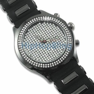 Totally Iced Out Pave Dial Black Jelly Watch