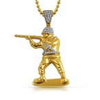 Toy Army Soldier 3D Gold Pendant CZ