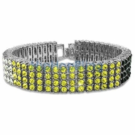 Tri Color White Canary & Black Rhodium 4 Row Iced Out Bracelet