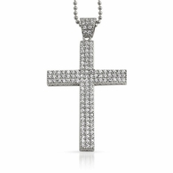 Triple Bling Bling CZ Micro Pave Cross Rhodium