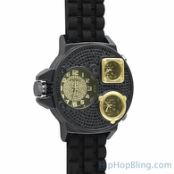 Triple Time Zone Black Iced Out Rubber Watch