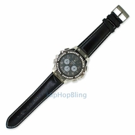 Unique Bling Bling Clean Leather Hip Hop Watch