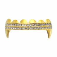 Vampire Fang Double Iced Out Gold Grillz Top
