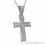 Wavy Stainless Steel Mini CZ Iced Out Cross