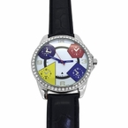White Dial 5 Timezone Black Leather Watch