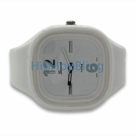 White Jelly Band Watch Square Face