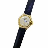 Womens CZ Pave Rounded Gold Black Leather Watch