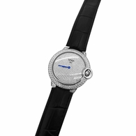 Womens CZ Pave Rounded Steel Black Leather Watch