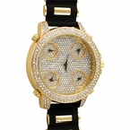 Working 5 Time Zone Gold Bling Bling Black Rubber Watch