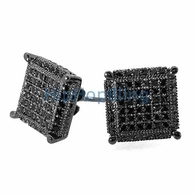 XL 3D Cube CZ Black .925 Silver Micropave Earrings