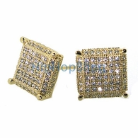 XL 3D Cube Gold CZ Bling .925 Silver Micro Pave Earrings