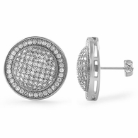 XL Domed Rhodium CZ Iced Out Earrings