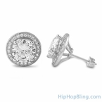 XL Halo Solitaire Blingbling CZ Earrings