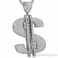 XL Money Dollar Sign Stainless Steel CZ Iced Out Pendant