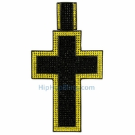 XXL Mega Iced Out Cross Black and Yellow