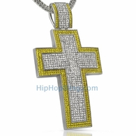 Yellow Border XXL Mega Bling Bling Cross