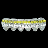 YELLOW / CLEAR Double Bar SILVER Iced Out Grillz Hip Hop Bling Grills BOTTOM