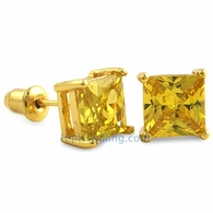 Yellow CZ Diamond Square Stud Earrings Gold