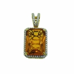 Yellow Large Gem Pendant Gold .925 Silver