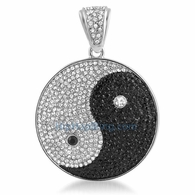 Yin Yang Chinese Black White Bling Pendant