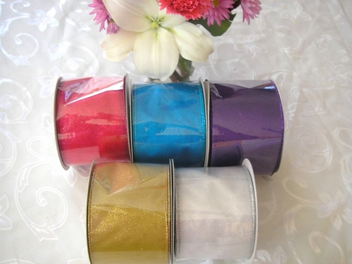 "4"" Wide Glitter Sheer Ribbon - click to enlarge"