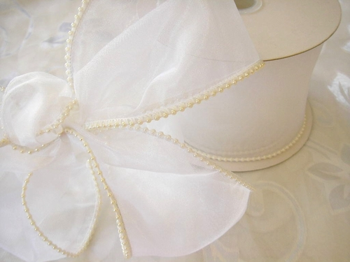 "4"" Wide Pearled Edge Sheer Ribbon - click to enlarge"