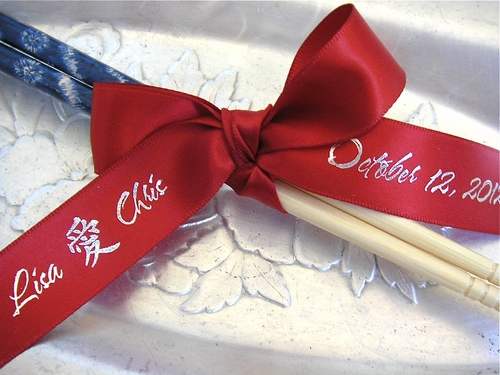 Asian Theme Wedding Favor Ribbon - click to enlarge