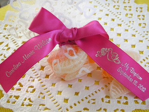 Baptism Favor Ribbon with Dove - click to enlarge