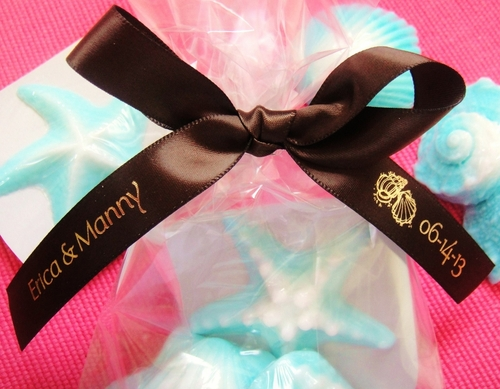 "Beach Wedding Favor Ribbon 5/8""  - click to enlarge"