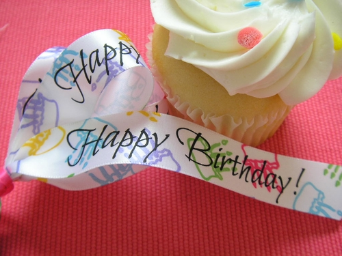 Birthday Cake Happy Birthday Ribbon - 10 yards - click to enlarge