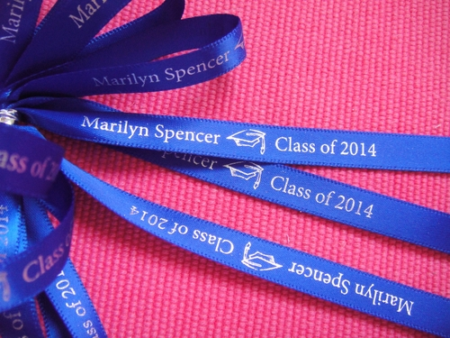 "Continuous Graduation Personalized Ribbon 3/8"" - click to enlarge"