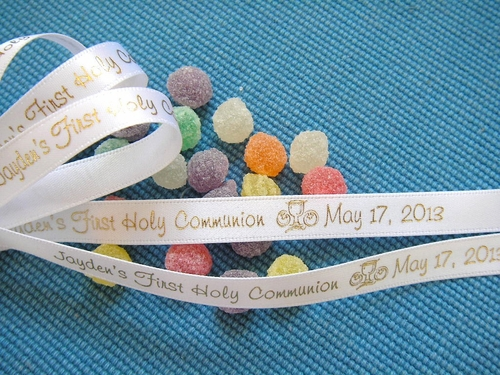 "First Holy Communion Continuous Ribbon - 3/8"" - click to enlarge"