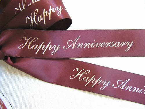 "Happy Anniversary Ribbon - 7/8"" - click to enlarge"